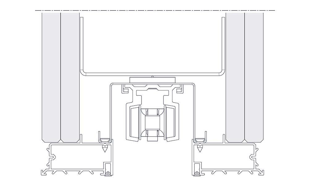 Mit einem Bajonett-Verschluss wird die Laufschiene oberhalb in das Schiebetürsystem integriert.